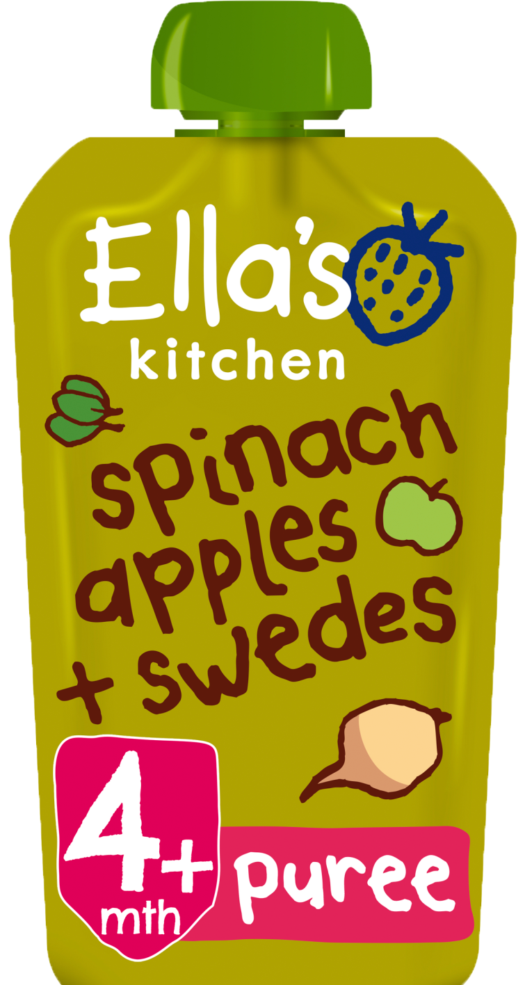 Ellas kitchen spinach apples swedes pouch front of pack O