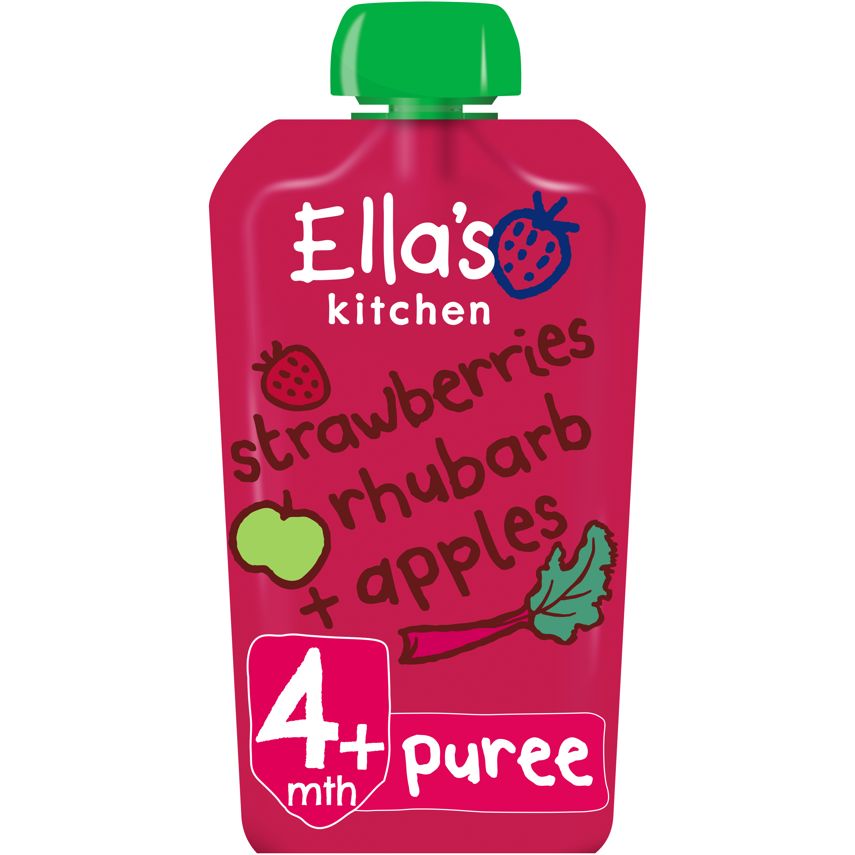Ellas kitchen strawberries rhubarb apples pouch front of pack O