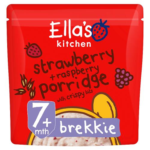 Ellas kitchen strawberry raspberry porridge pouch 7 months front of pack O