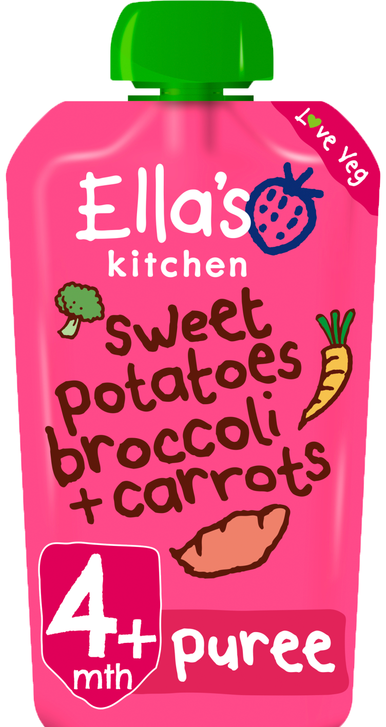 Ellas kitchen sweetpotatoes broccoli carrots pouch front of pack O