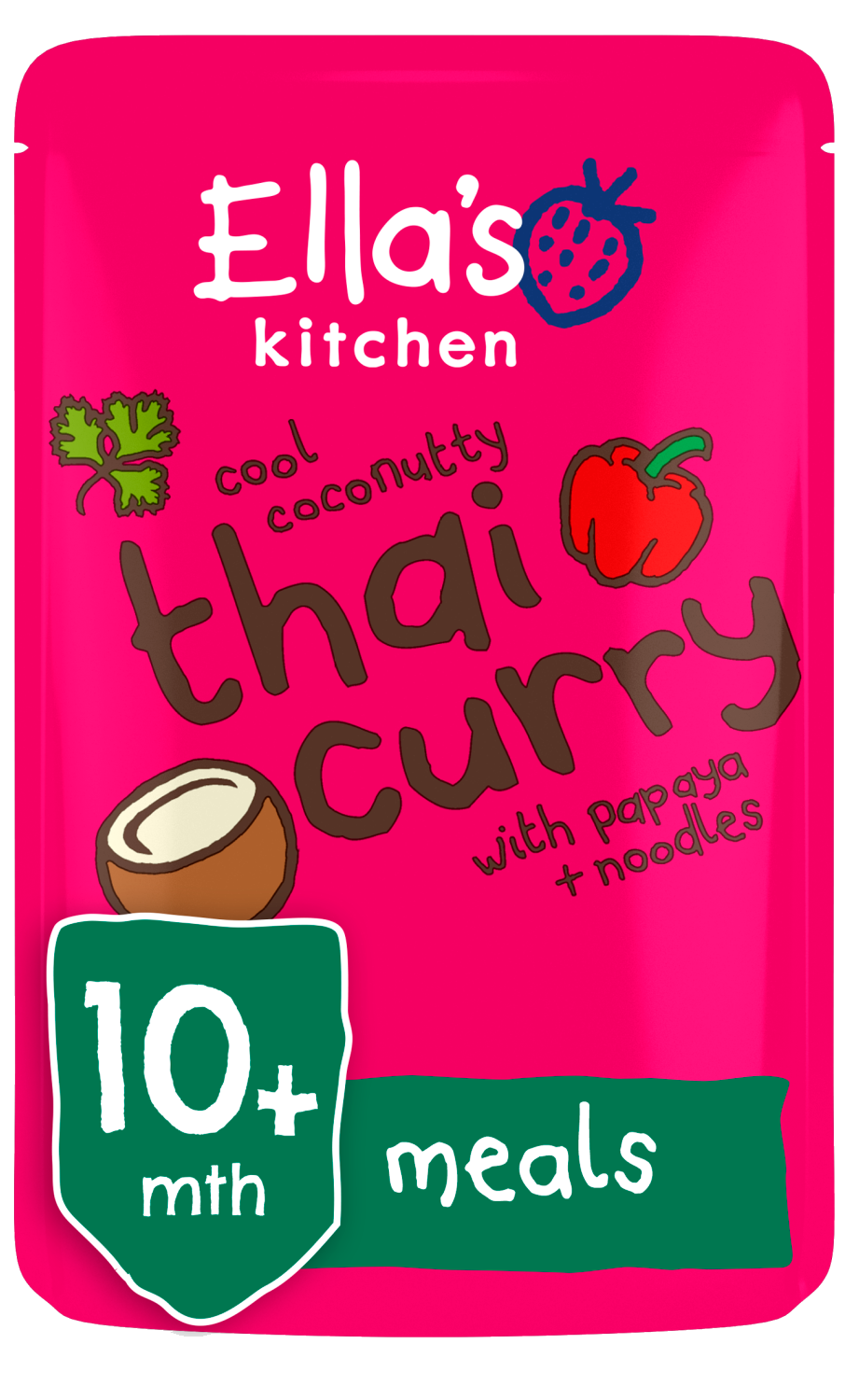Ellas kitchen thai curry papaya noodles pouch 10 months front of pack O
