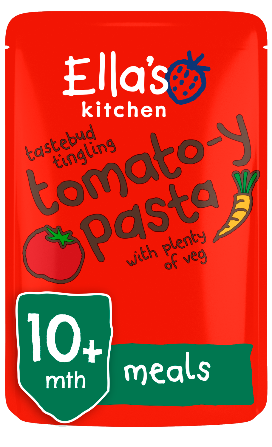Ellas kitchen tomatoy pasta veg pouch 10 months front of pack O