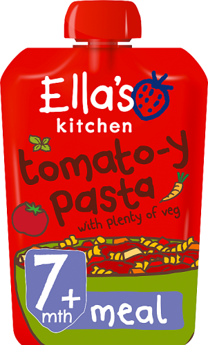 Ellas kitchen tomatoy pasta veg pouch 7 months front of pack O