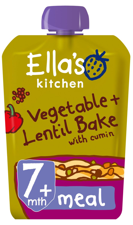Ellas kitchen vegetable lentil bake cumin pouch 7 months front of pack O