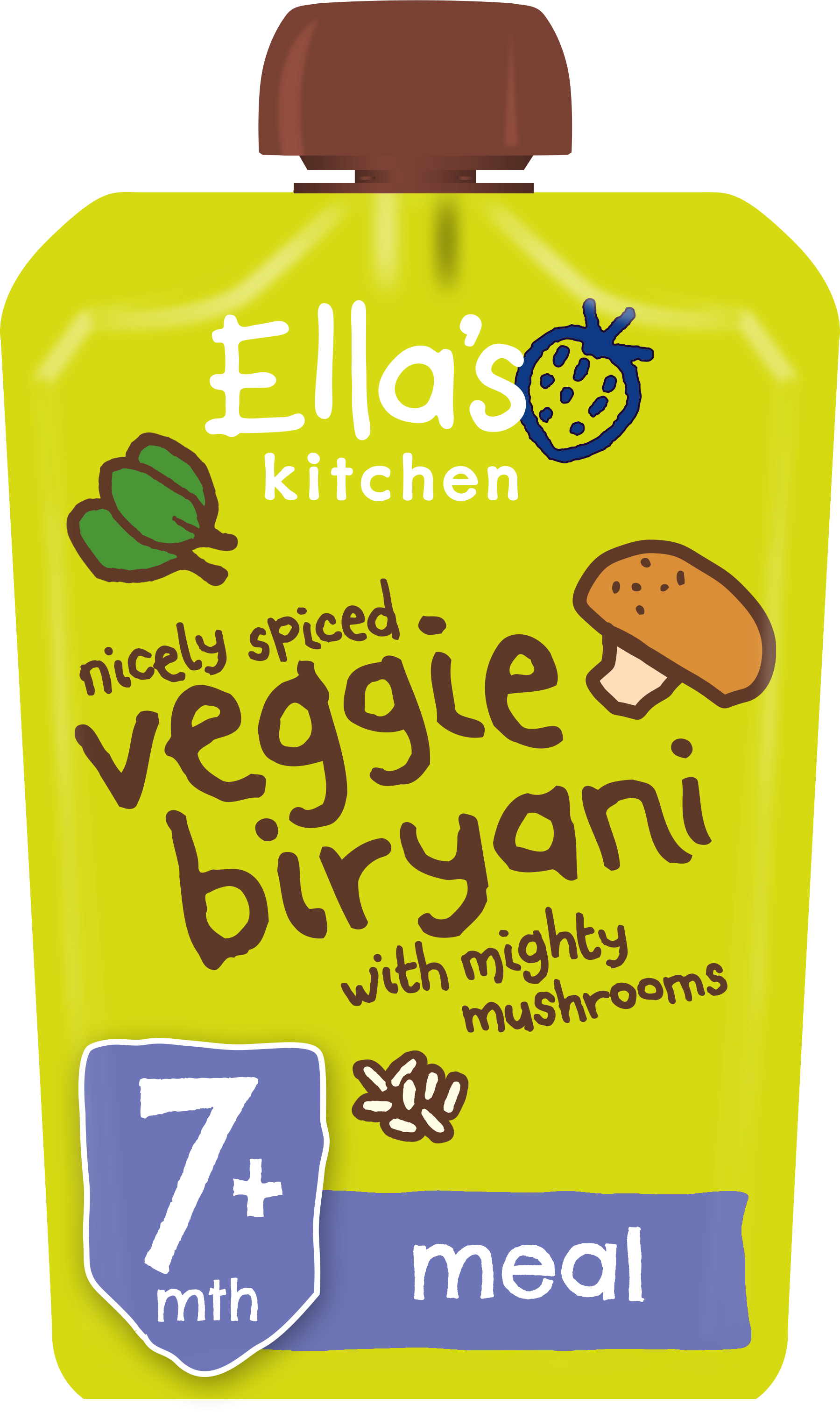 Ellas kitchen veggie biryani 7 months front of pack O