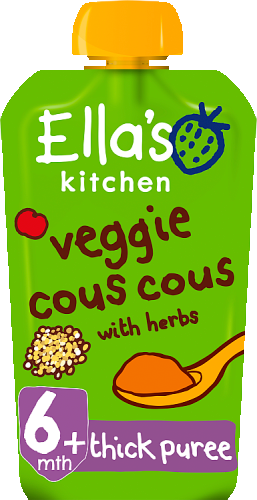 Ellas kitchen veggie cous cous herbs pouch 6 months front of pack O