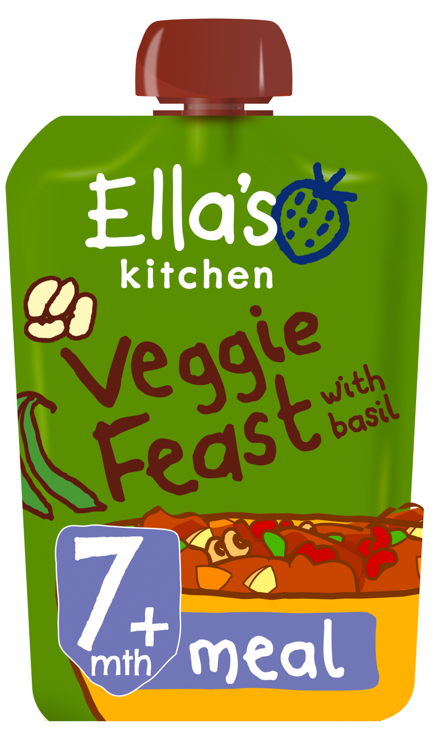 Ellas kitchen veggie feast basil pouch 7 months front of pack O