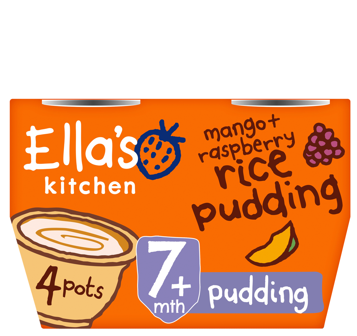 Mango raspberry rice pudding front